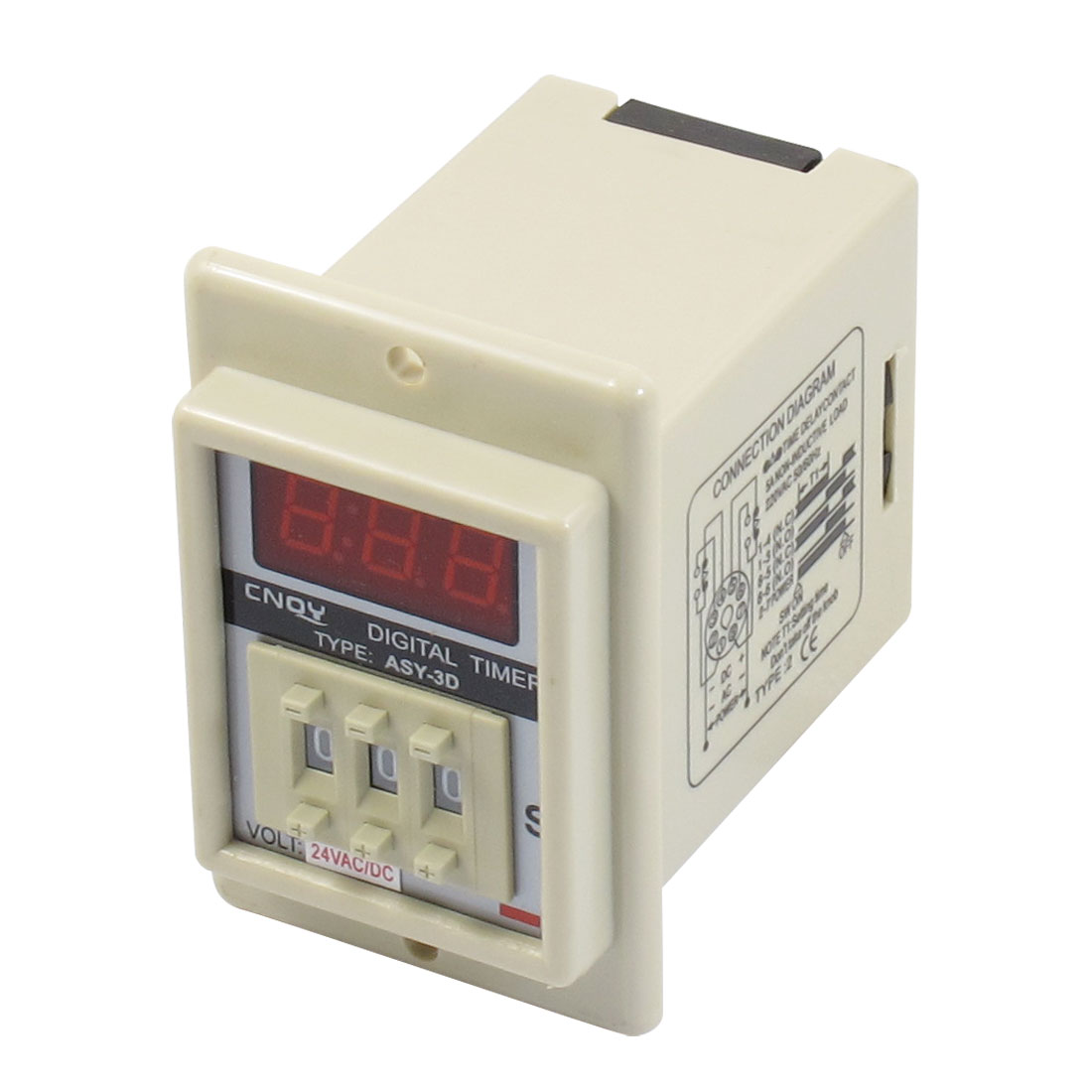 AC/DC 24V 8 Pin 0.01-9.99 Second Digital Timer Time Delay Relay Beige ASY-3D