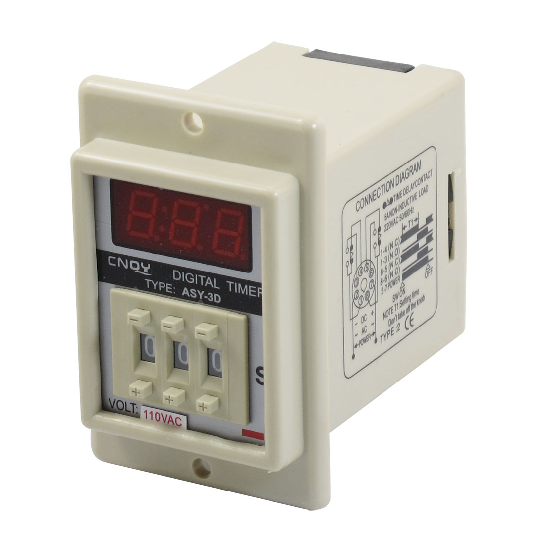AC 110V 8 Pin 0.01-9.99 Second Digital Timer Time Delay Relay Beige ASY-3D