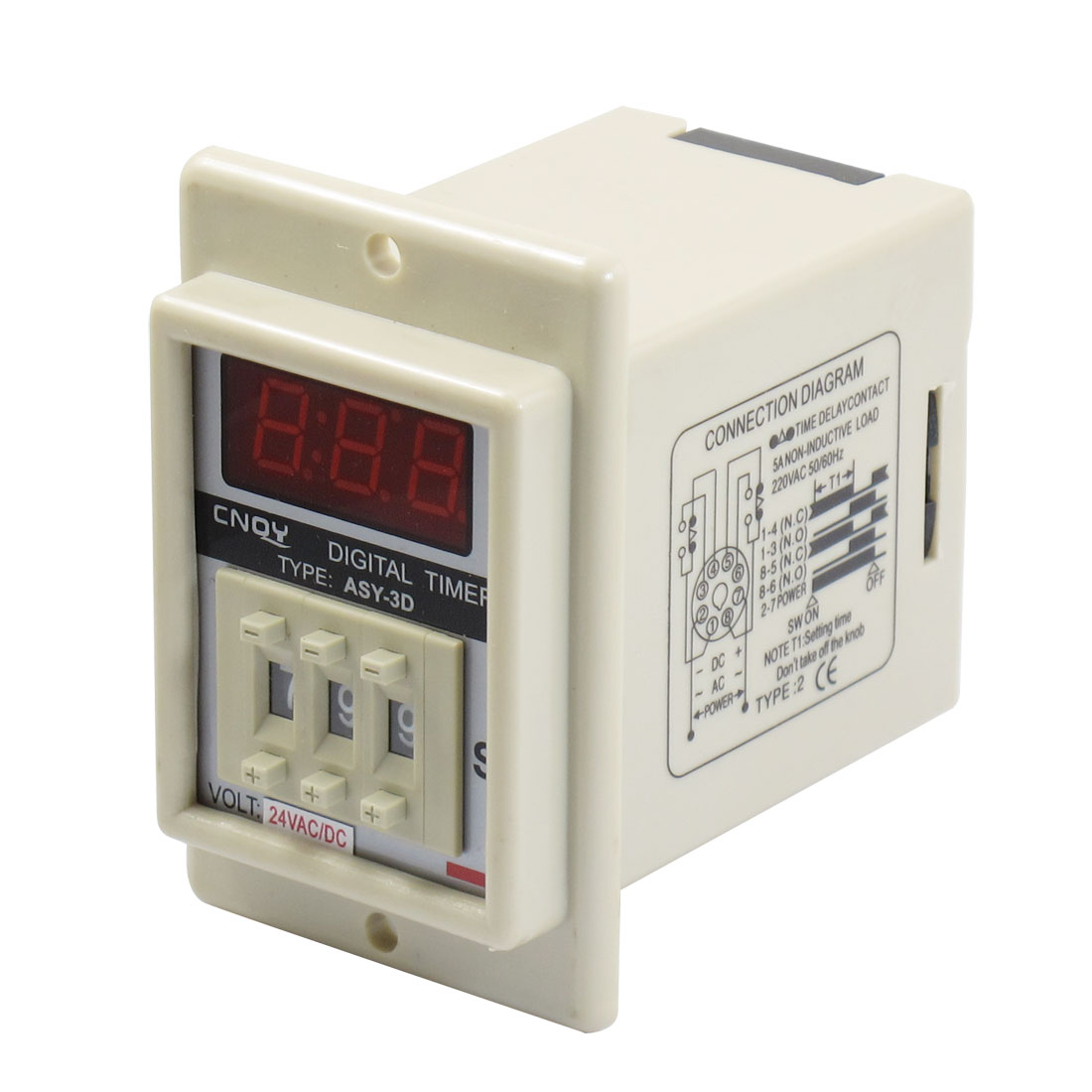 AC/DC 24V 8 Pin 1-999 Second Digital Timer Time Delay Relay Beige ASY-3D