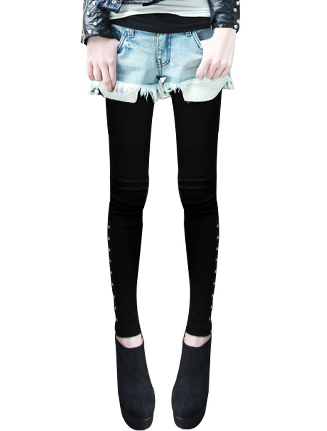 Women Black Elastic Waist Skinny Tight Stretchy Spring Casual Leggings XS