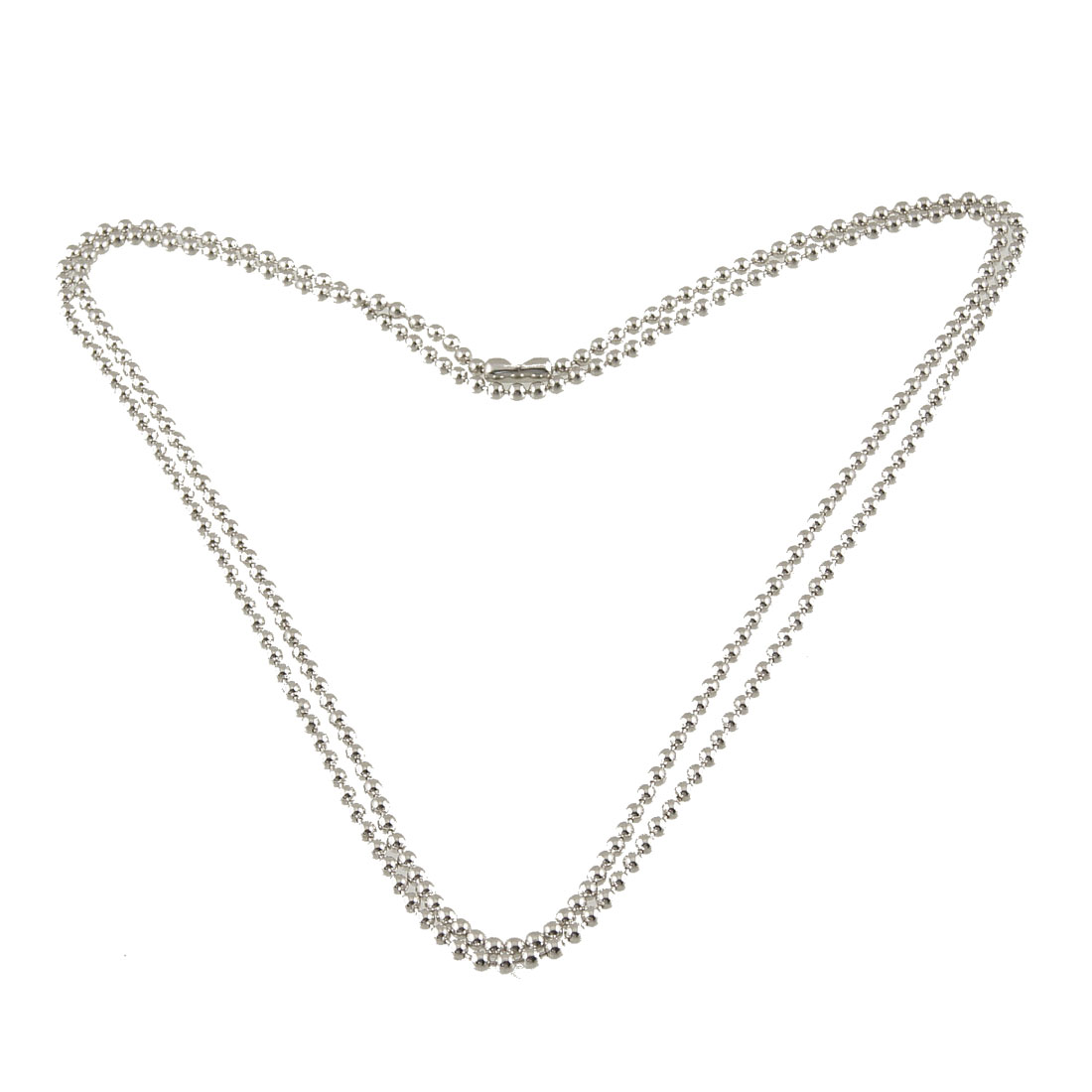 "35.4"" Length Stainless Steel Stamping Silver Tone Beaded Chain Necklaces"