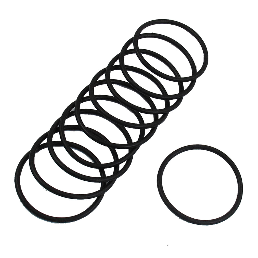 10 Pcs 42mm Outside Dia 2.4mm Thick Rubber O Rings Gaskets Black