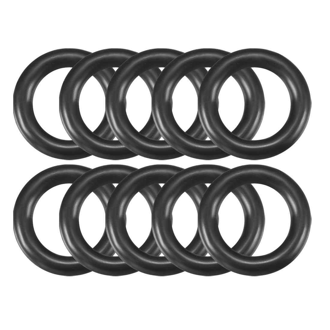 10 Pcs x 13mm Outside Dia 2.4mm Thick Rubber O Rings Gaskets Black