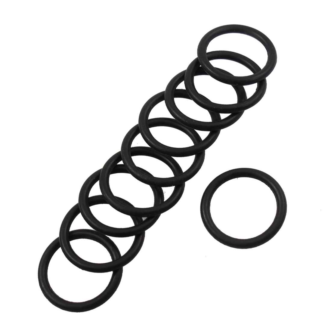 10 Pcs 17mm x 13mm x 2mm Rubber O Rings Gaskets Black