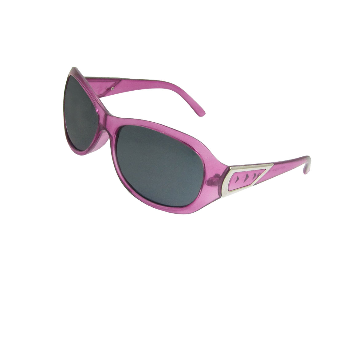 Lady Fuchsia Plastic Arms Gray Lens Polarized Sunglasses w Case Holder