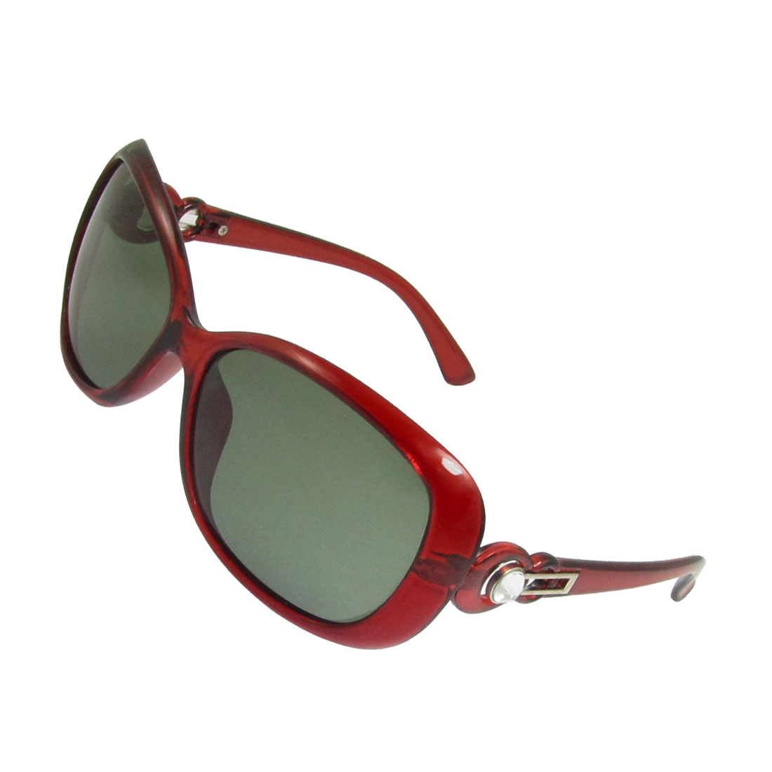 Woman Burgundy Plastic Tip Arms Green Lens Polarized Sunglasses w Case Holder