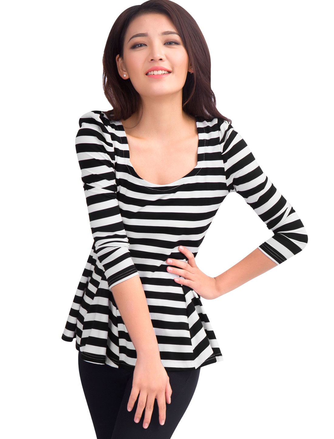 Woman Black White Stripes Print Scoop Neck Padded Shoulder Slim Tunic Shirt L