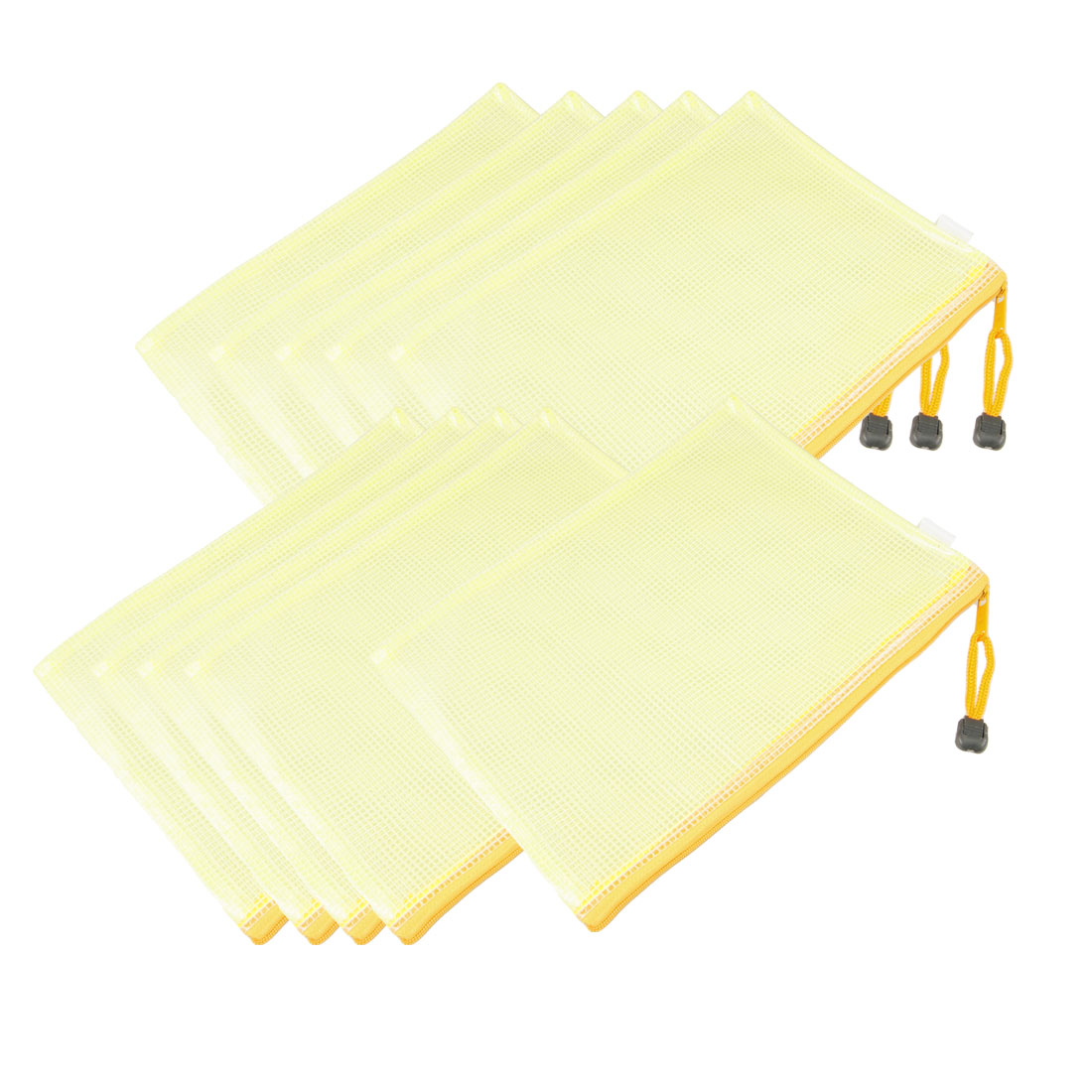 10 Pcs 25.3cm x 18.5cm Yellow Grid Design Zip Up A5 File Doucment Bag w Strap