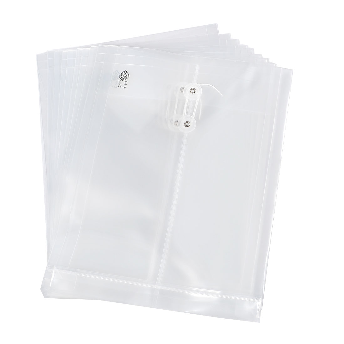 White Portable String Closure A4 Documents File Pouch 10 Pcs