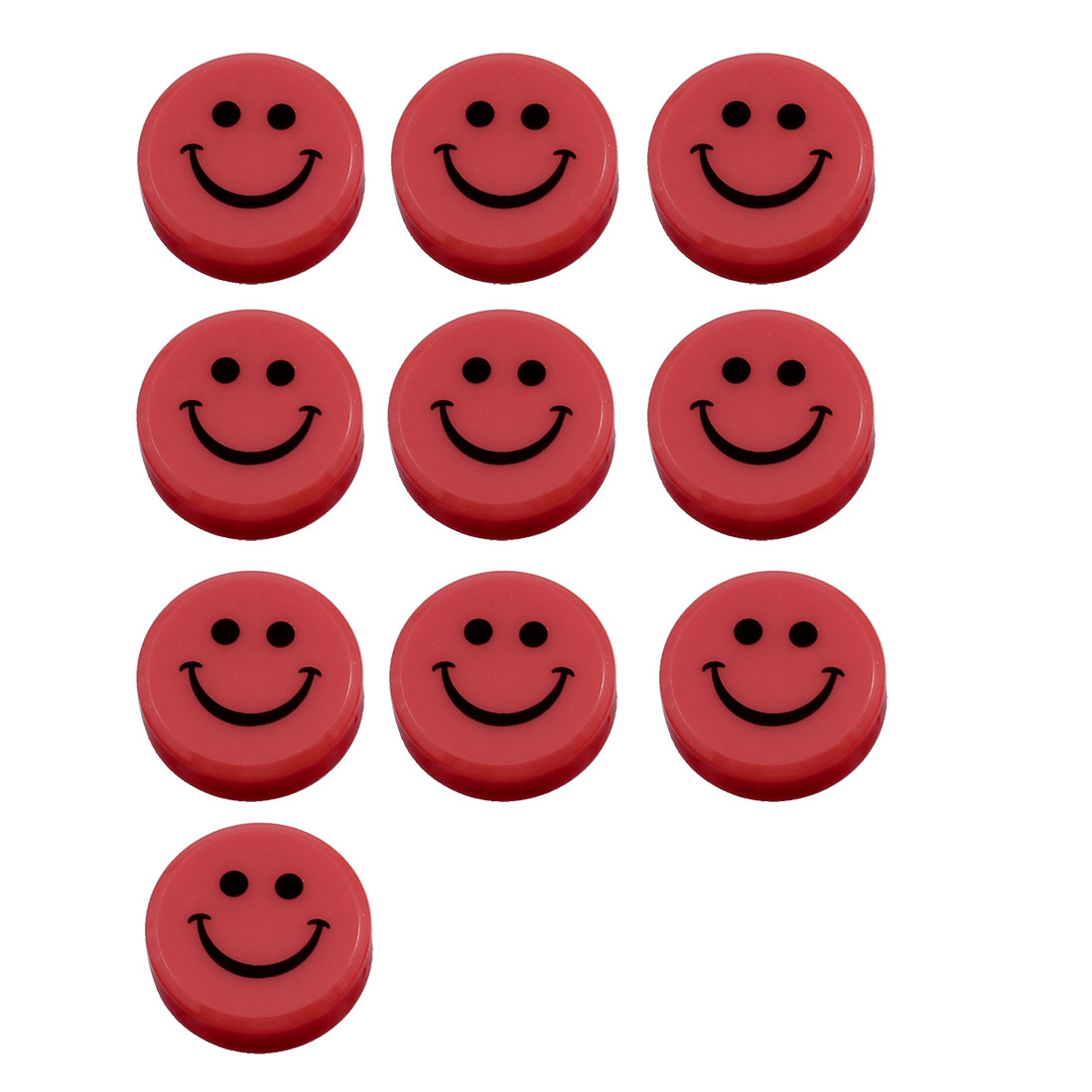 10 Pcs 30mm Dia Round Plastic Smiling Face Refrigerator Magnets Red
