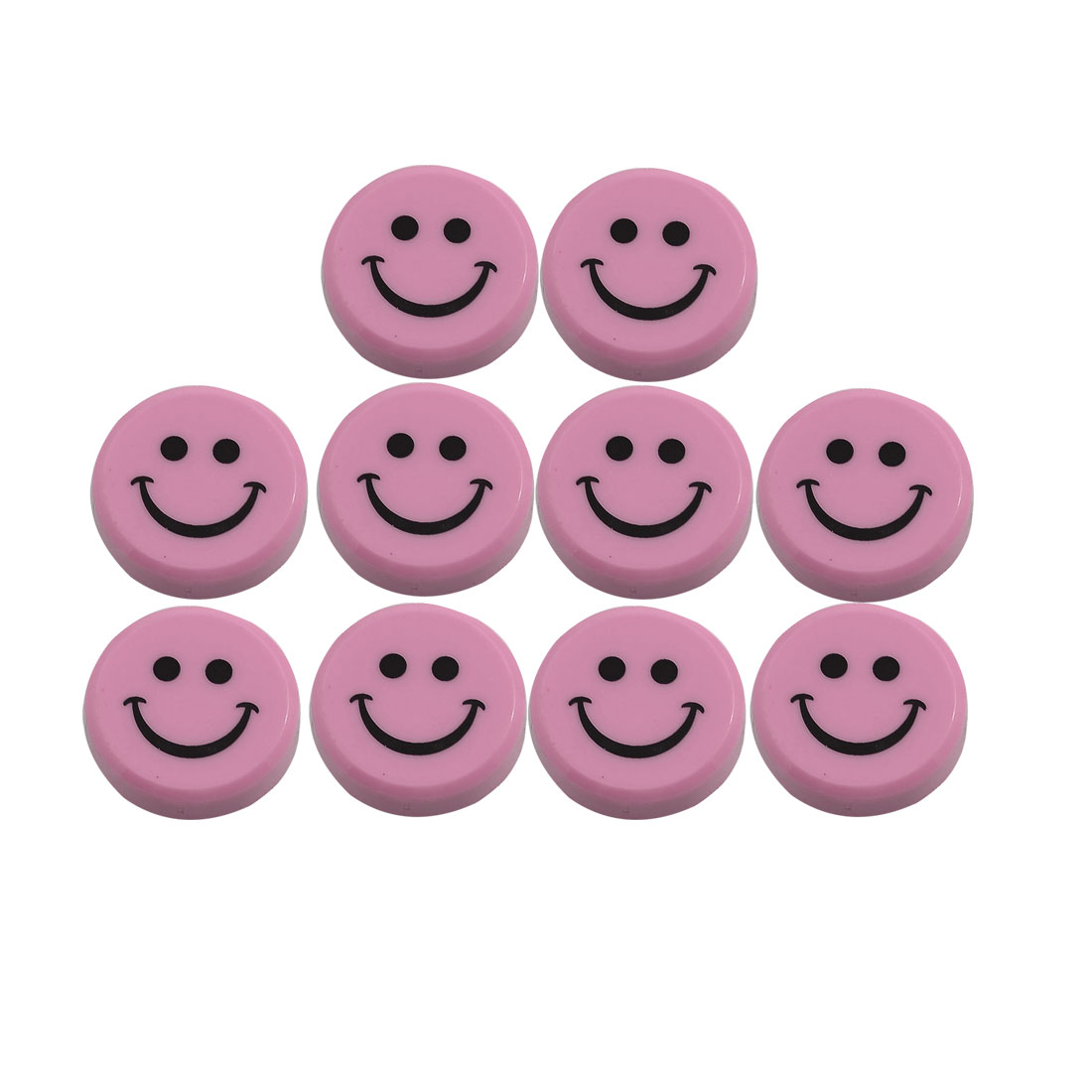 10 Pcs 30mm Round Plastic Smiling Face Refrigerator Magnets Pink