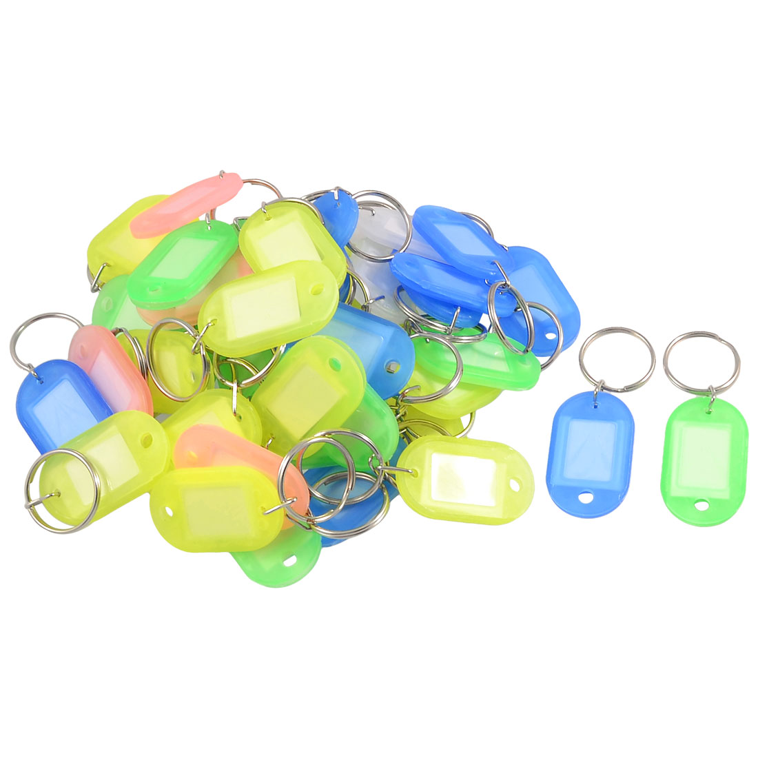 50 Pcs Assorted Color Keys ID Labels Tags Split Ring Key Rings