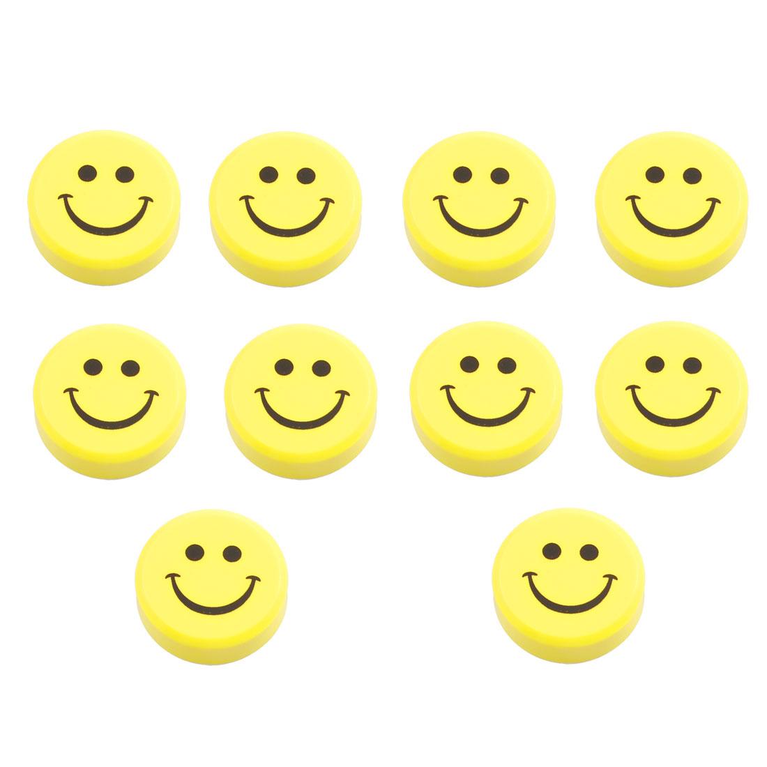 10pcs Yellow Plastic Smile Face Fridge Washing Machine Magnets Stickers