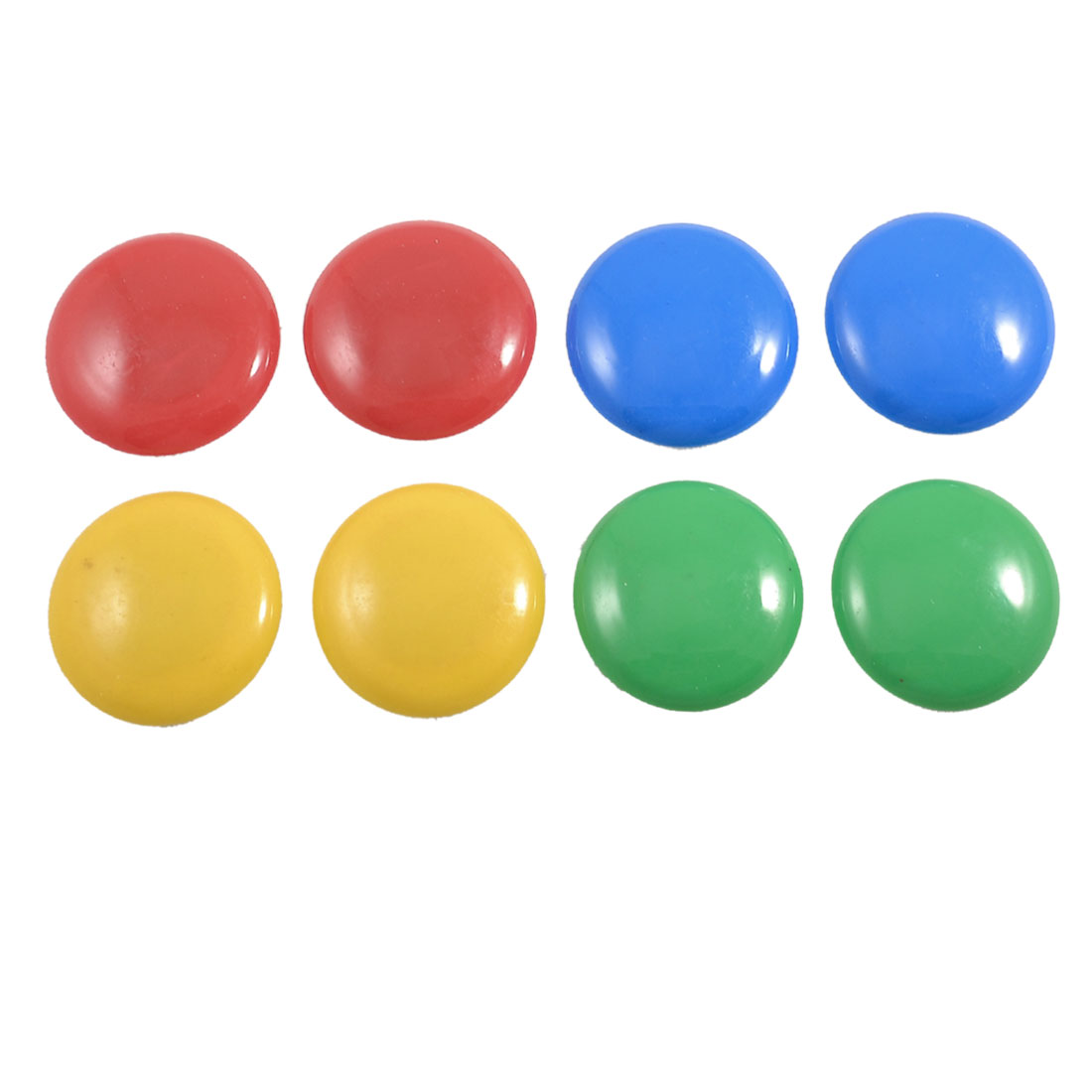 8 Pcs 39mm Dia Round Plastic Shell 4 Colors Refrigerator Magnets