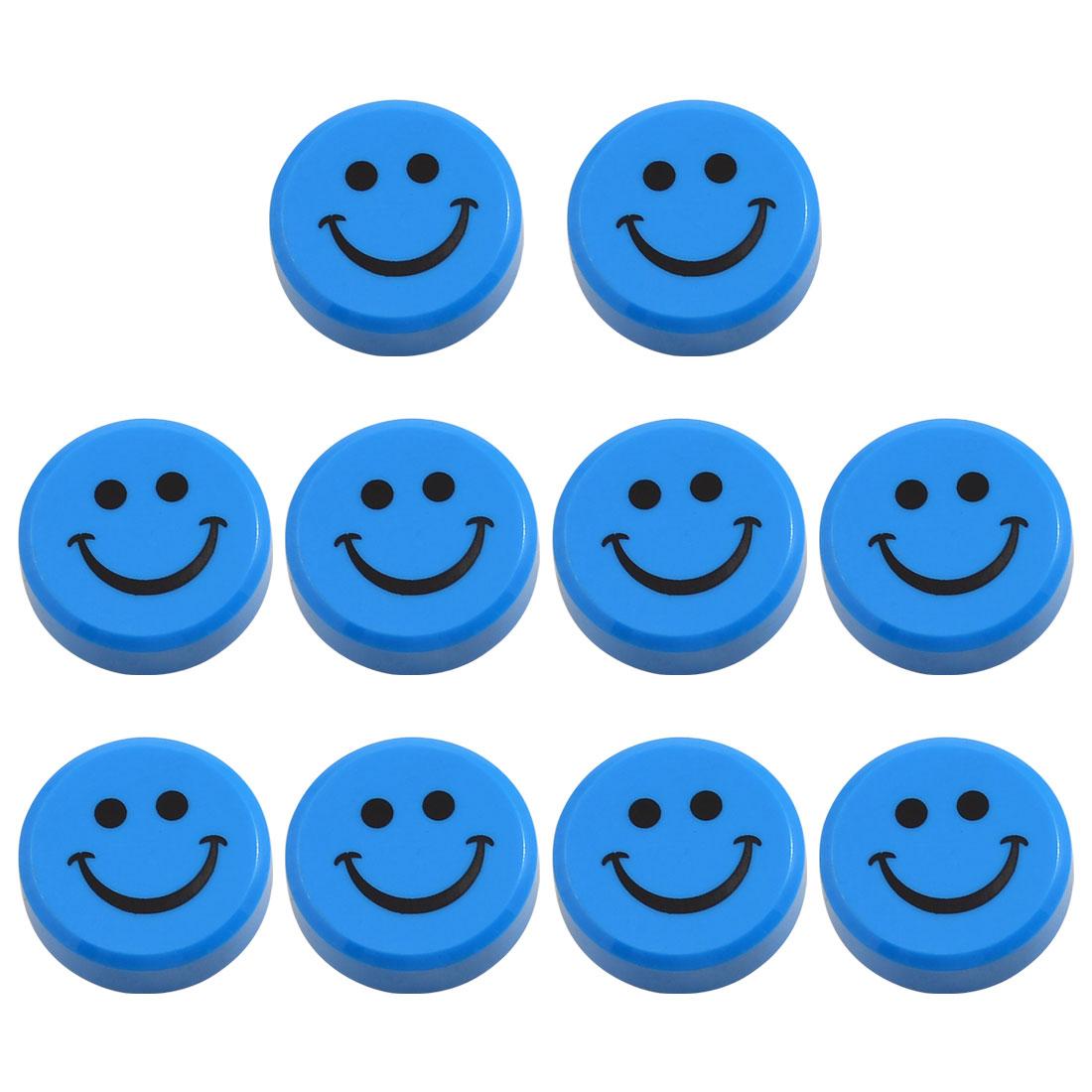 "10 x 1.2"" Dia Smile Face Pattern Blue Shell Fridge Magnets Home Decor"
