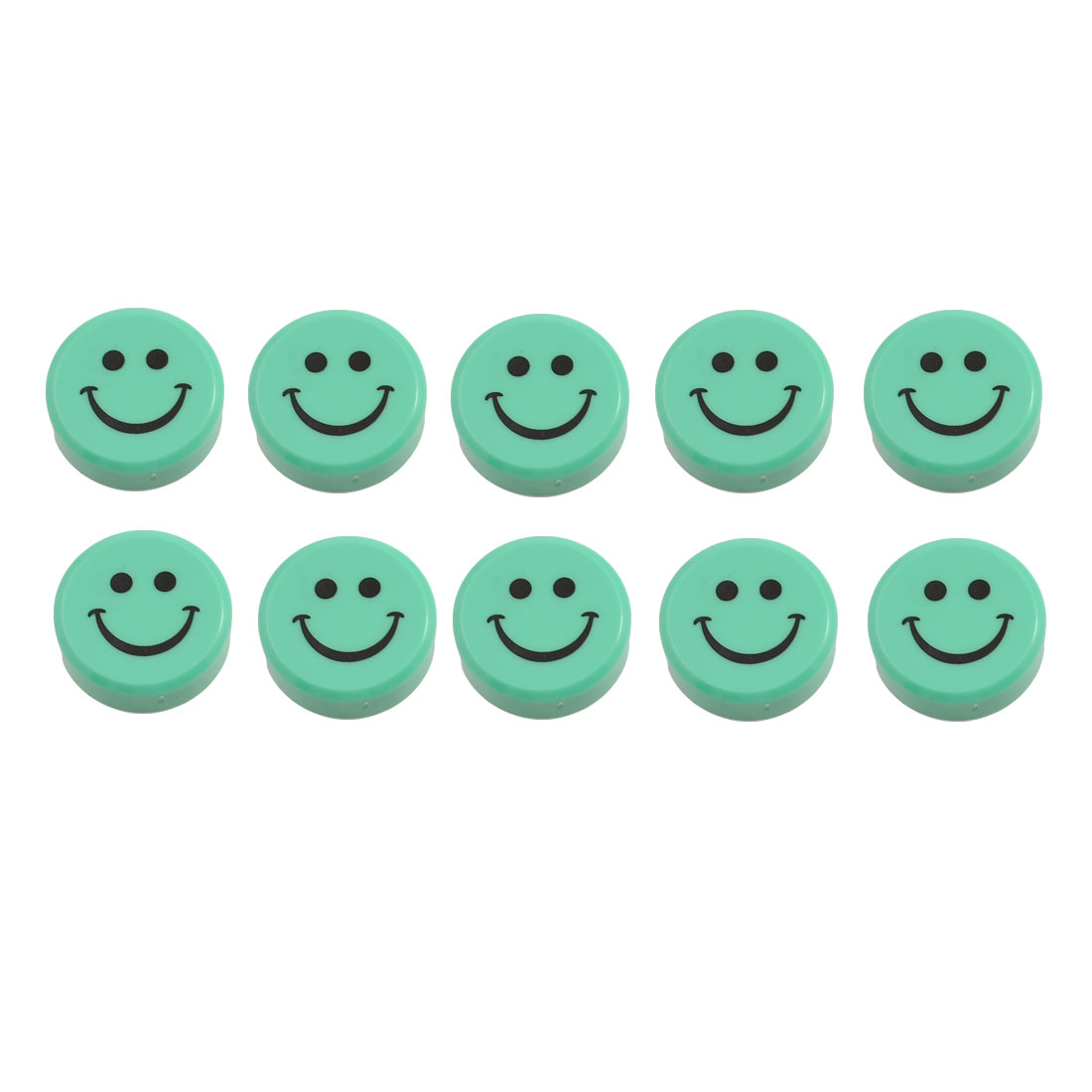 10pcs Green Plastic Smile Face Fridge Washing Machine Magnets Stickers