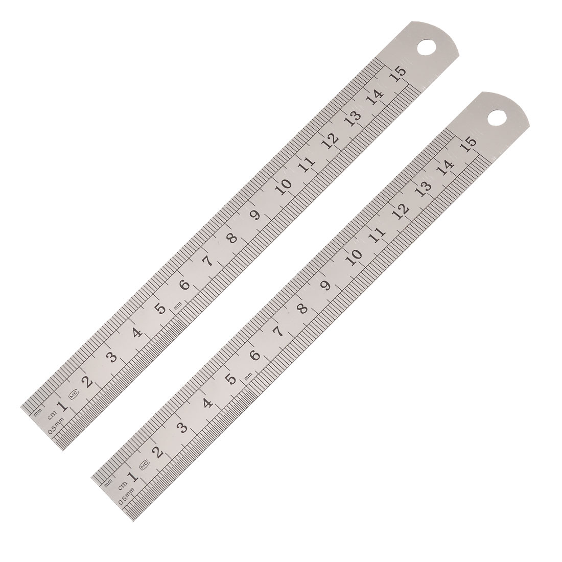2 Pcs Metric 15cm Stainless Steel Straight Ruler Measuring Tool 6""