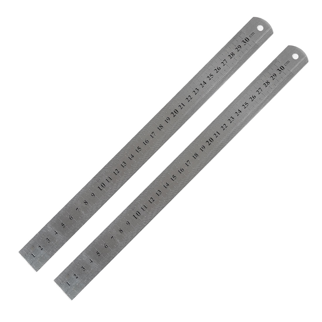 2 Pcs Metric 30cm Stainless Steel Straight Ruler Measuring Tool 12""