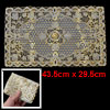 Flower Pattern Gold Tone Hollow Out Mesh Table Coaster Heat Insulation Pad