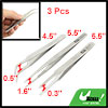 3pcs Home Metal Straight Curved Flat Pointed Tweezers Set Silver Tone