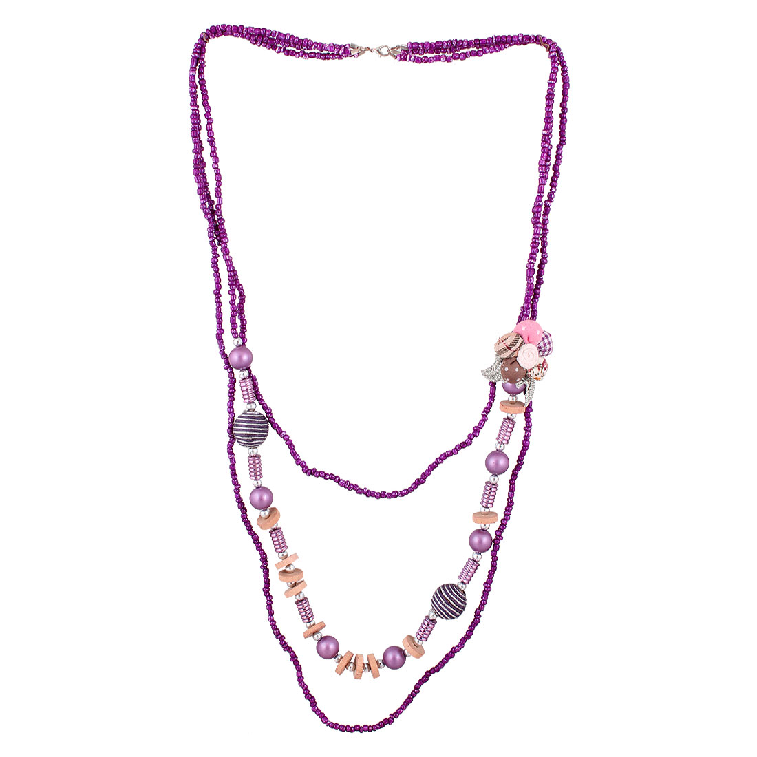Purple Ball Shaped Flower Decor 3 Layers Eggplant Color Plastic Beaded Sweater Necklace