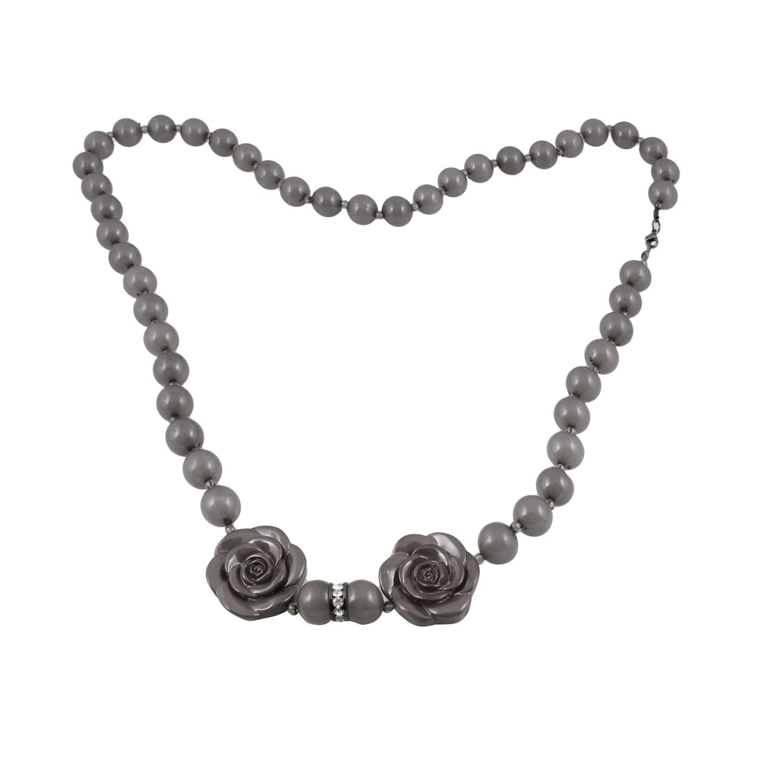 Woman Rose Flower Decor Metal Lobster Clasp Plastic Silver Gray Beads Sweater Necklace