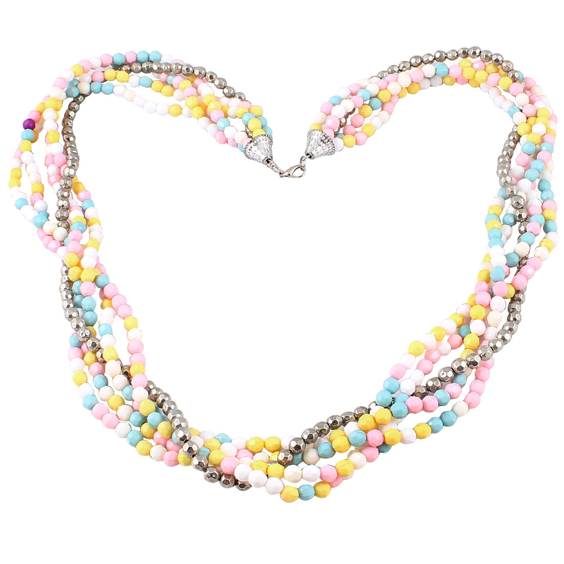Women Silver Tone White Pink Yellow Blue Plastic Beads Decor 5 Layer Sweater Necklace