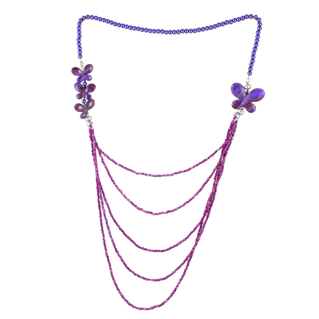 Women Dark Purple Iris Color Plastic Beads Buttery Shape Decor 5 Layer Necklace for Sweater