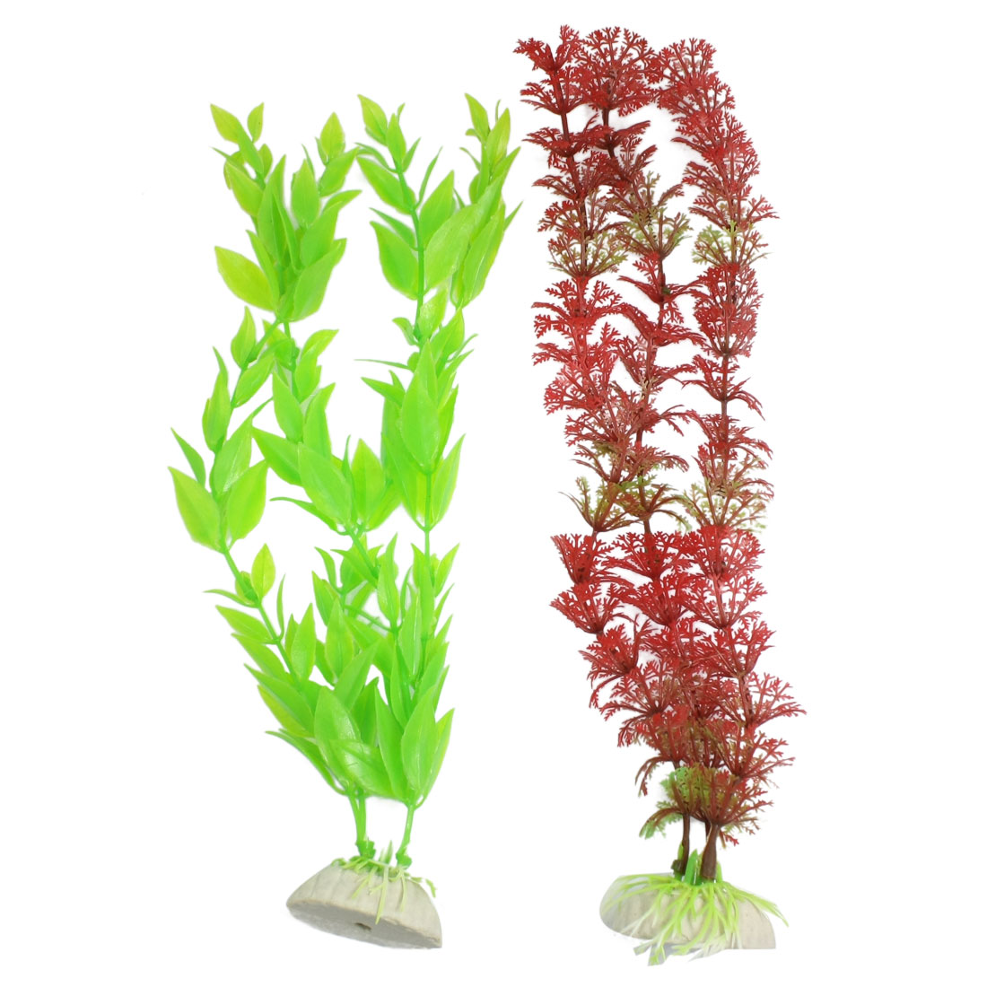 "11.4"" Height Aquarium Red Green Plastic Aquascaping Plant Grass 2 Pcs"
