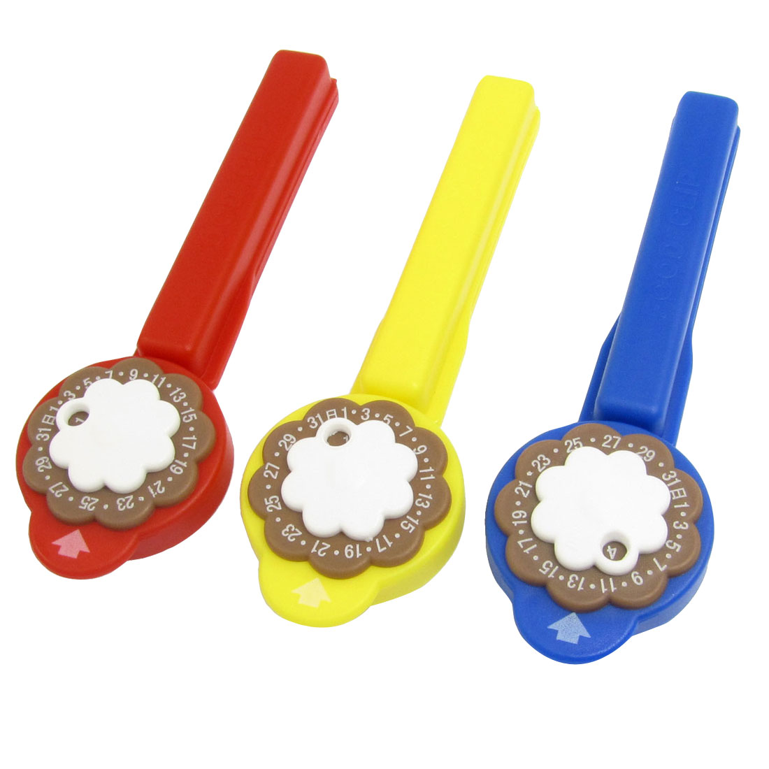 Floral Plastic Fresh Keeper Clips Food Bag Sealer Blue Yellow Red 3 Pcs