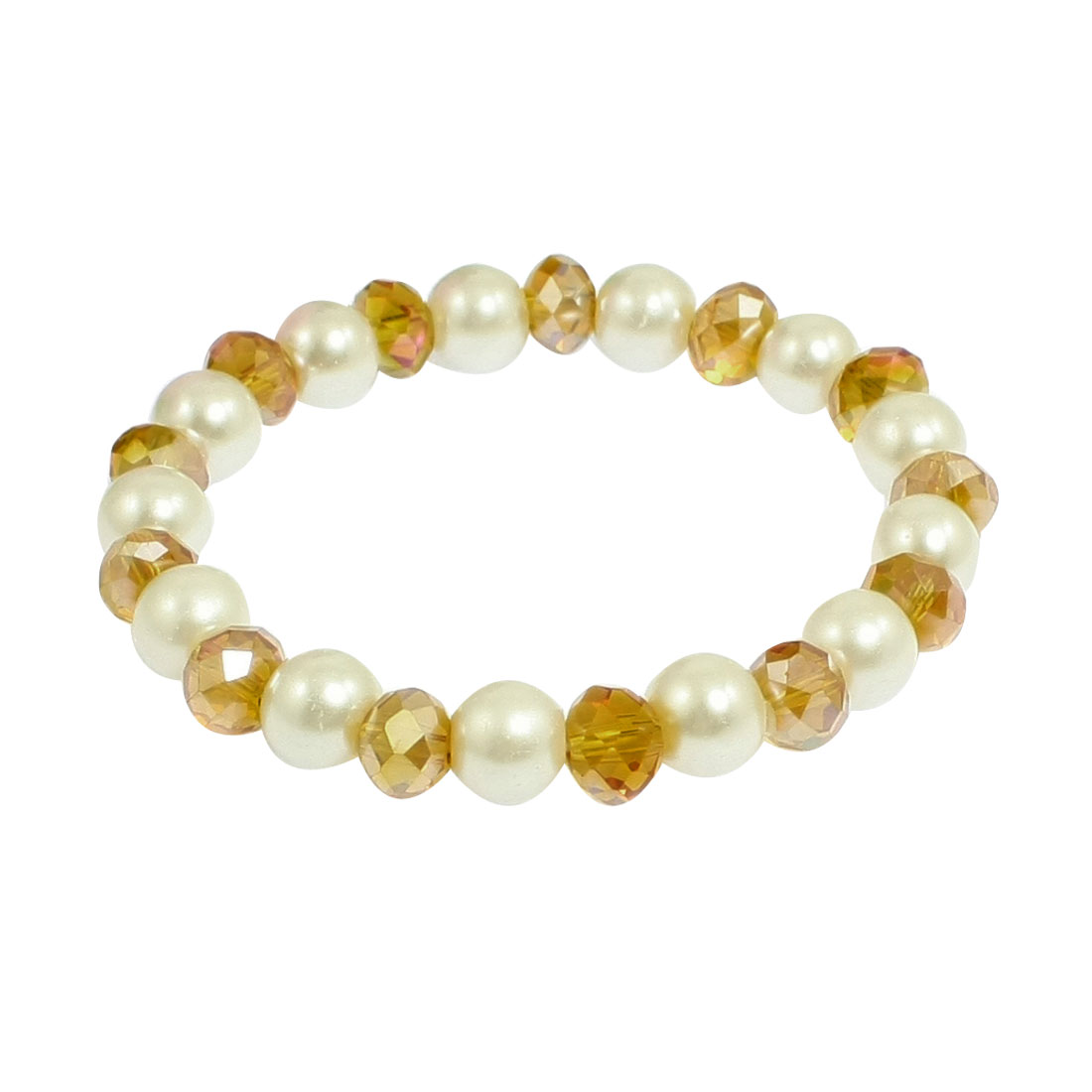 Amber Color Plastic Crystal Beaded Imitation Pearl Elastic Wrist Bracelet