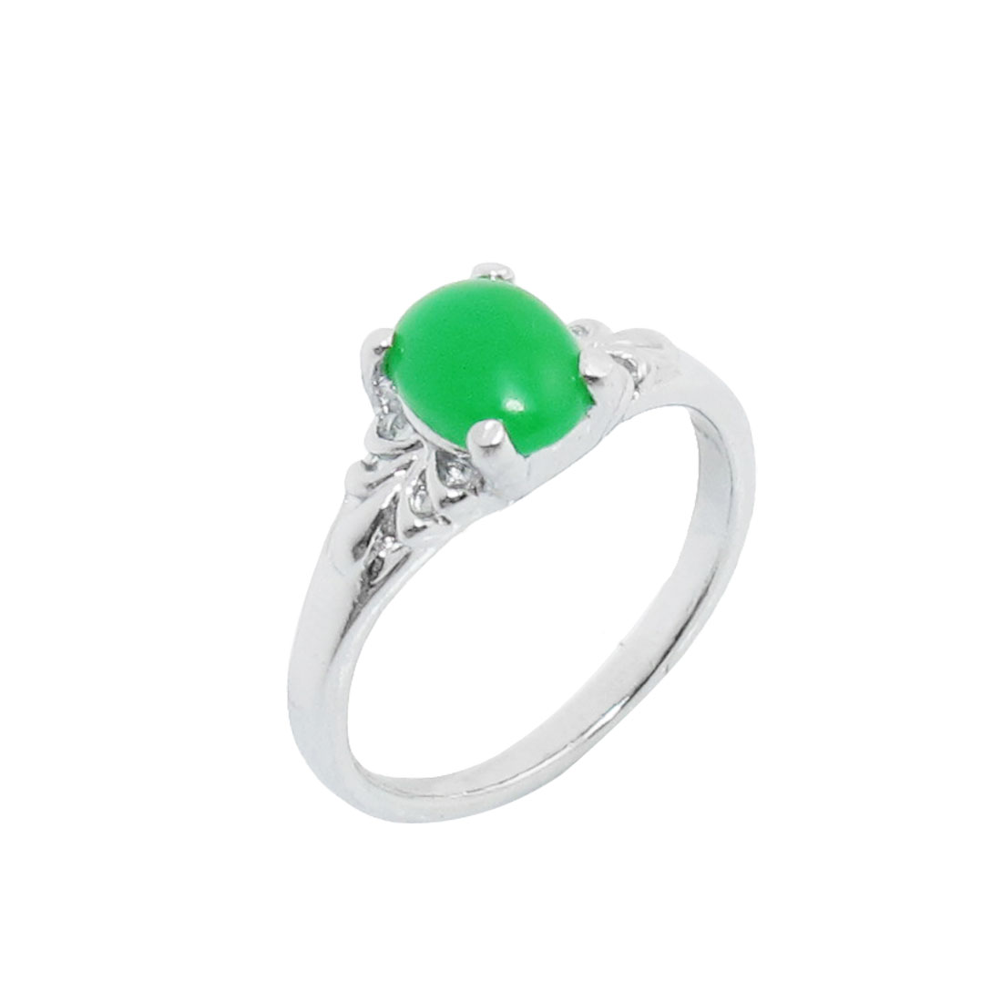 US Size 6 Green Plastic Crystal Accent Silver Tone Finger Ring for Women