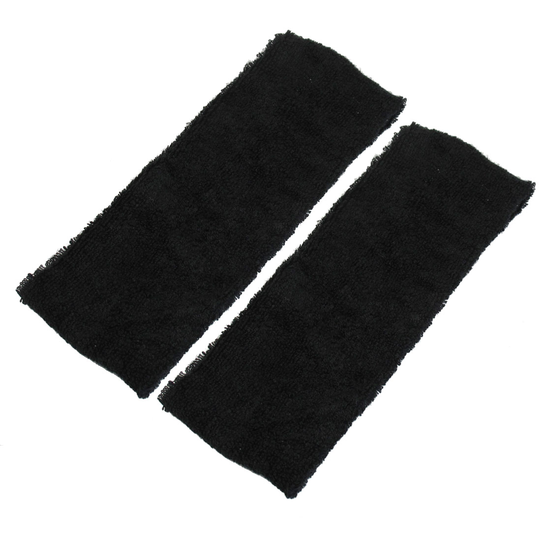 2 Pcs Black Terry Cloth 6cm Wide Elastic Sport Headband for Women