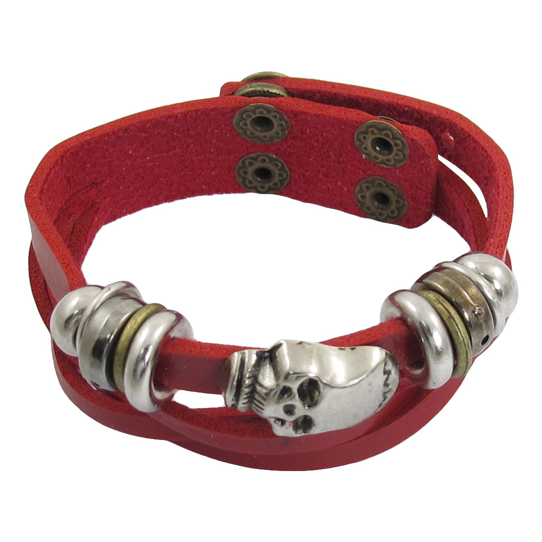 Red Faux Leather Band Silver Tone Skull Accent Punk Cuff Bracelet for Women