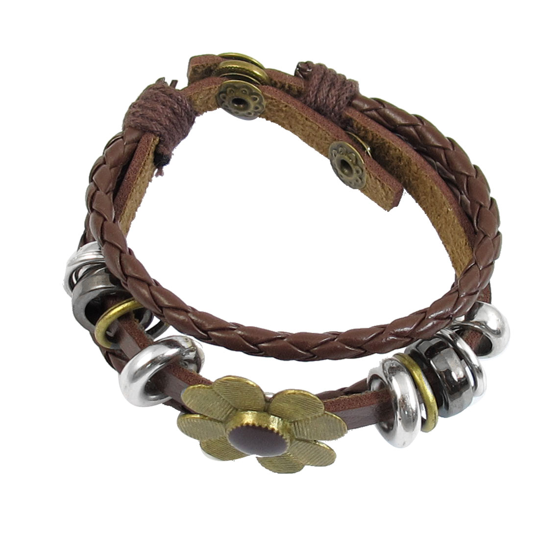 Women Flower Decor Brown Faux Leather Adjustable Wrist Bracelet