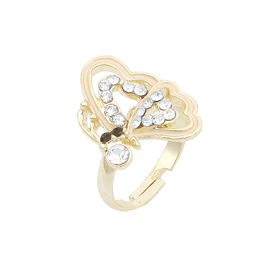 Women Rhinestone Butterfly Accent Gold Tone Adjustable Finger Ring US Size 7
