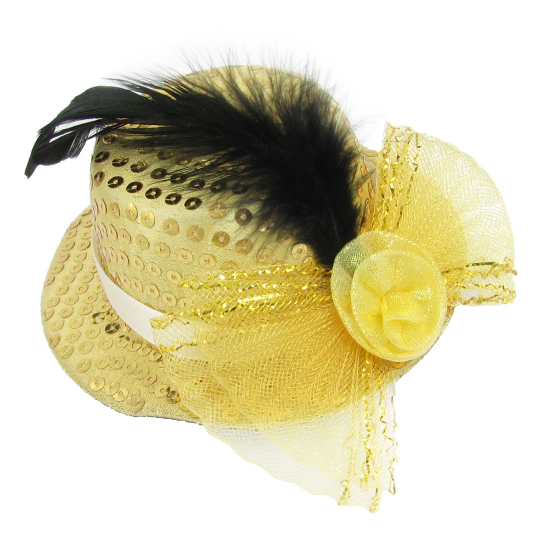 Mess Bowknot Decoration Yellow Top Hat Prong Alligator Hair Clip for Lady