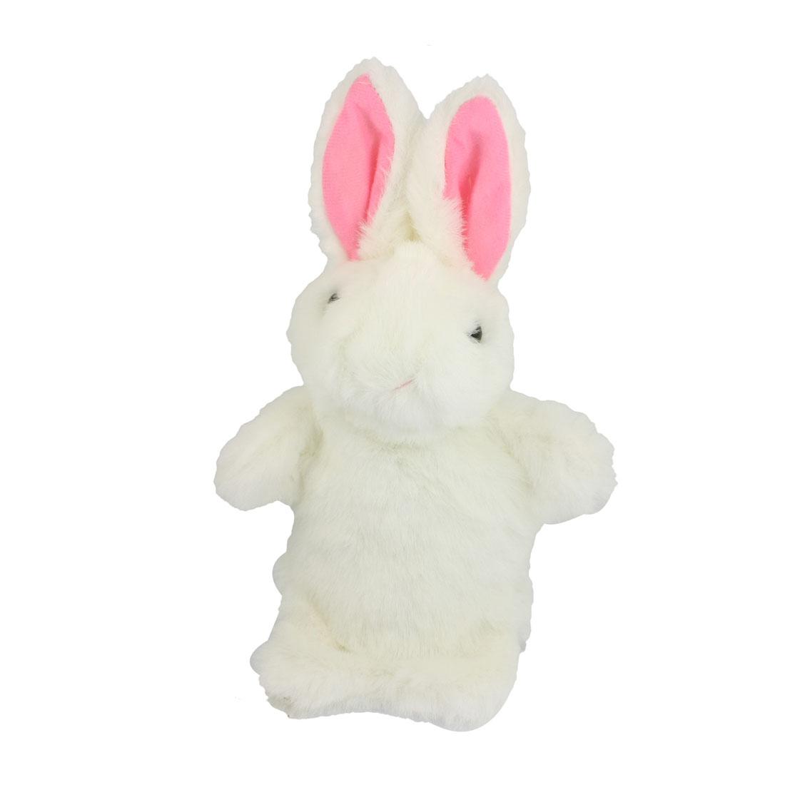 Rabbit Glove Hand Puppet Preschool Pretend Play Toy White for Children