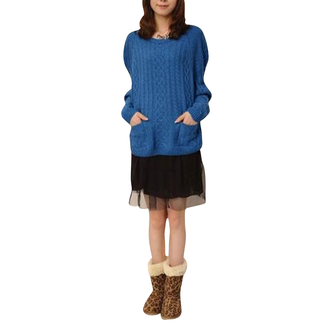 Ladies Blue Crew Neck Raglan Sleeve Pullover Autumn Textured Sweater S