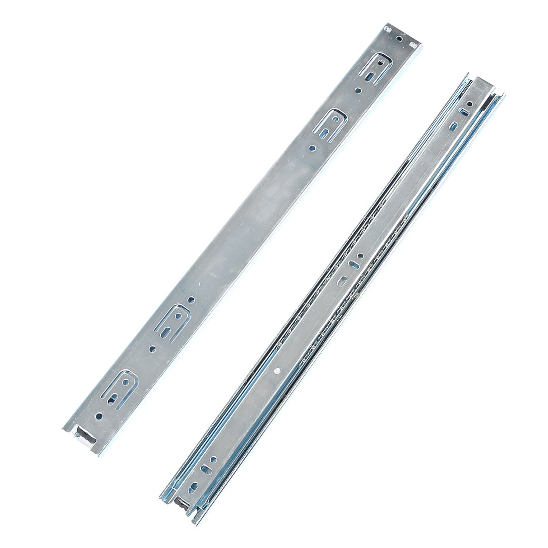 "2 Pcs Silver Tone 3 Sections Ball Bearing Drawer Slide 17"" Long"
