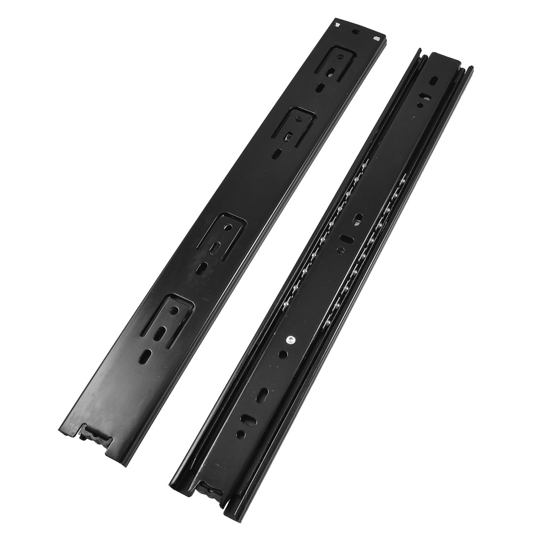 "2 Pcs 14"" Long 3 Sections Side Mount Metal Drawer Ball Slide Black"