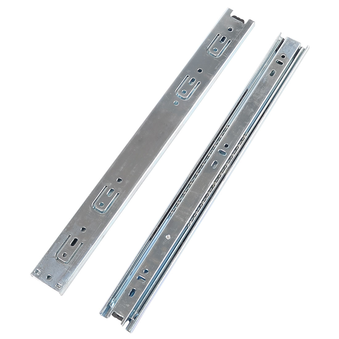 "2 Pcs Silver Tone Metal 3 Sections Side Mount Drawer Slide 15"" Long"