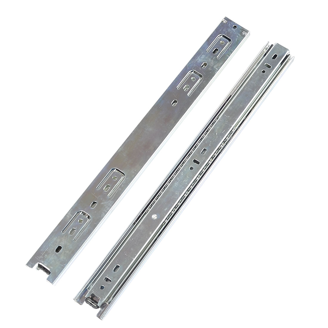 "2 Pcs Metal 3 Sections Ball Bearing Cupboard Drawer Slide 16"" Length"