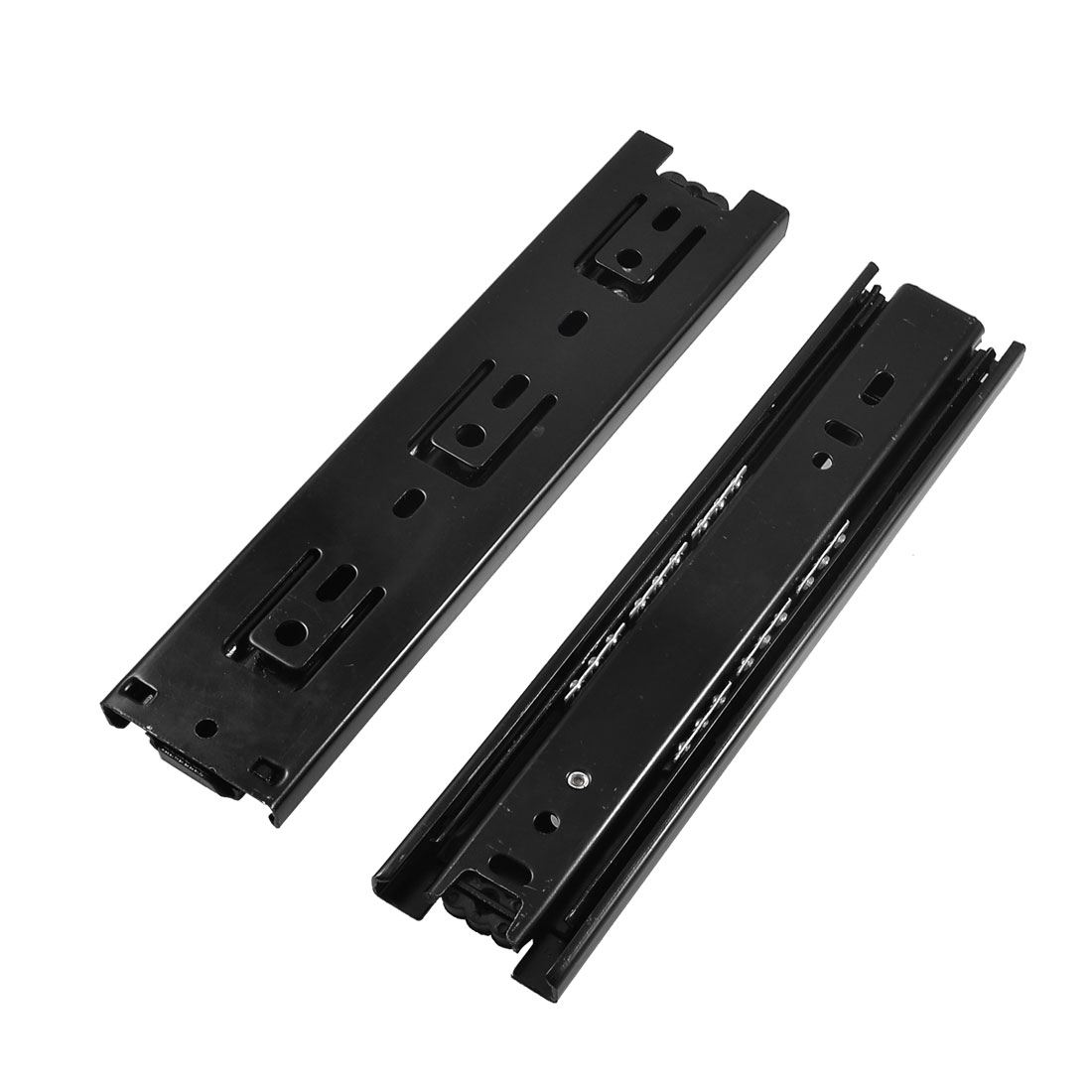 "2 Pcs Black Metal 3 Sections Ball Bearing Drawer Slide 8"" Length"