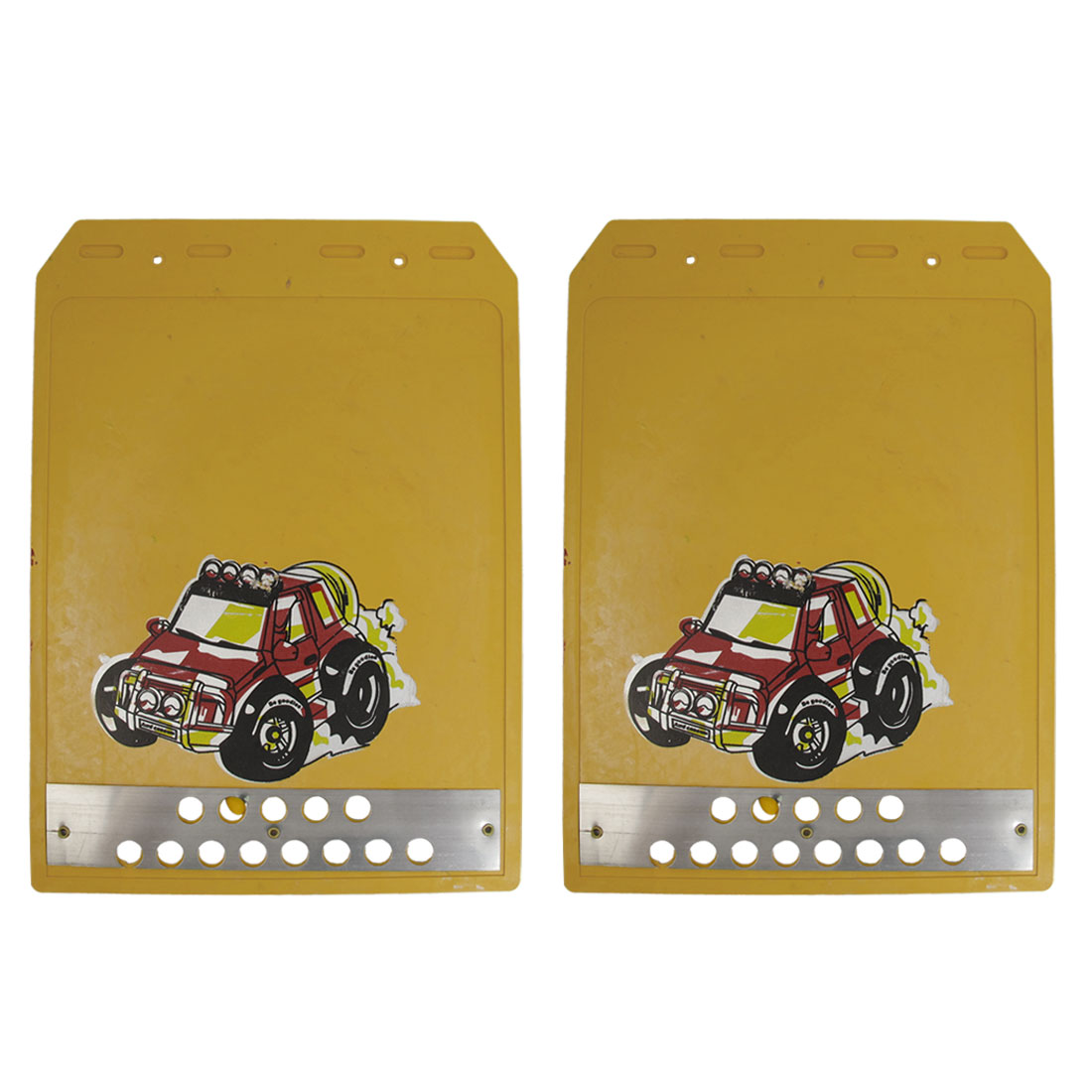 30cm x 21.5cm Truck SUV Metal Yellow Rubber Car Mud Guard Pair