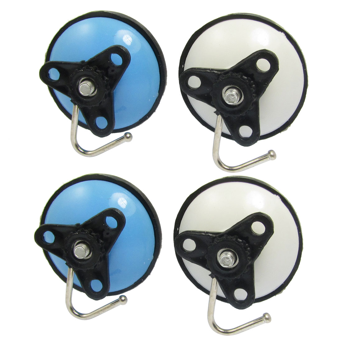 4 Pcs Blue White 55mm Dia Round Plastic Towel Suction Cup w Metal Hoop