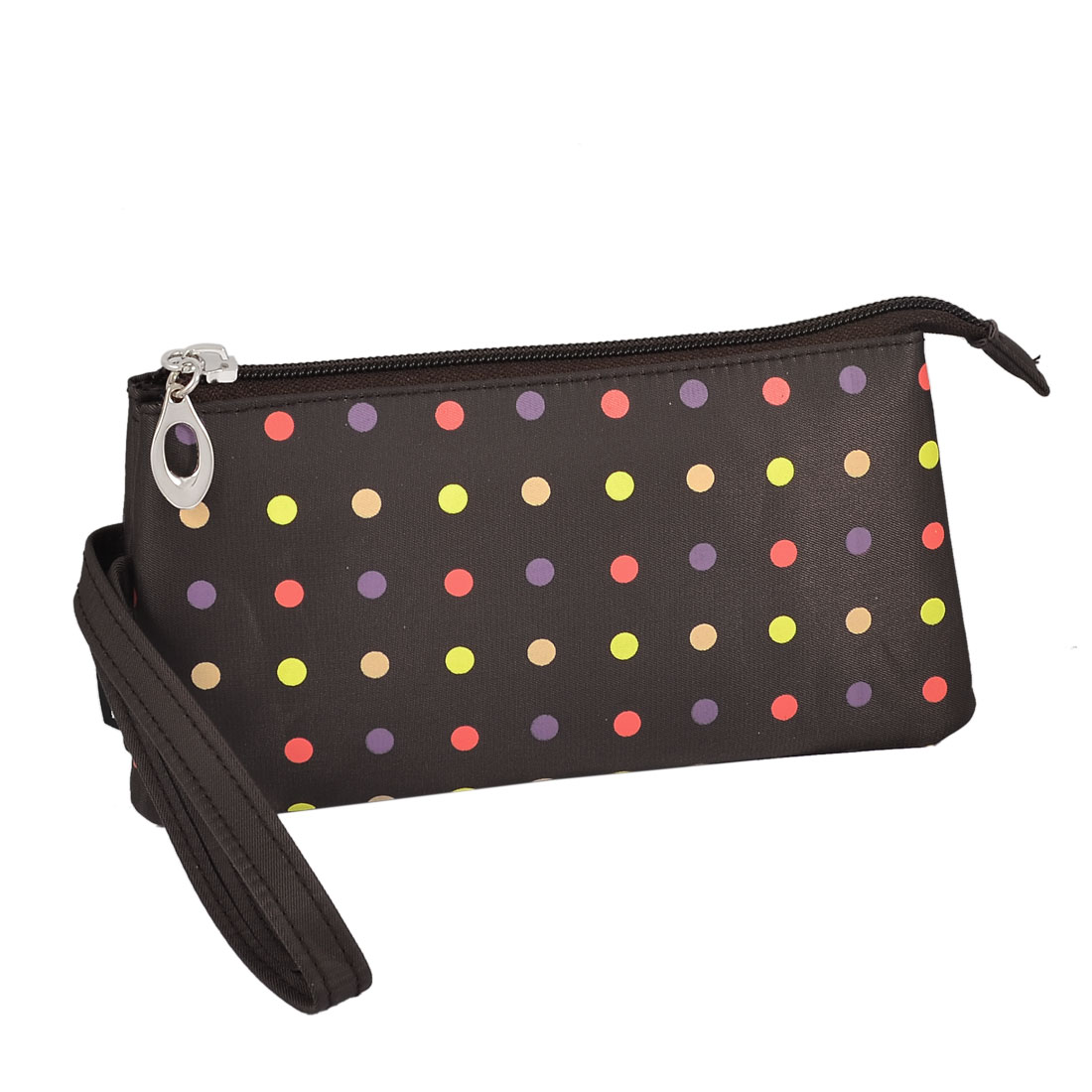 Travel Polka Dot 3 Compartment Wristlet Cosmetic Bag Pouch Brown w Mirror