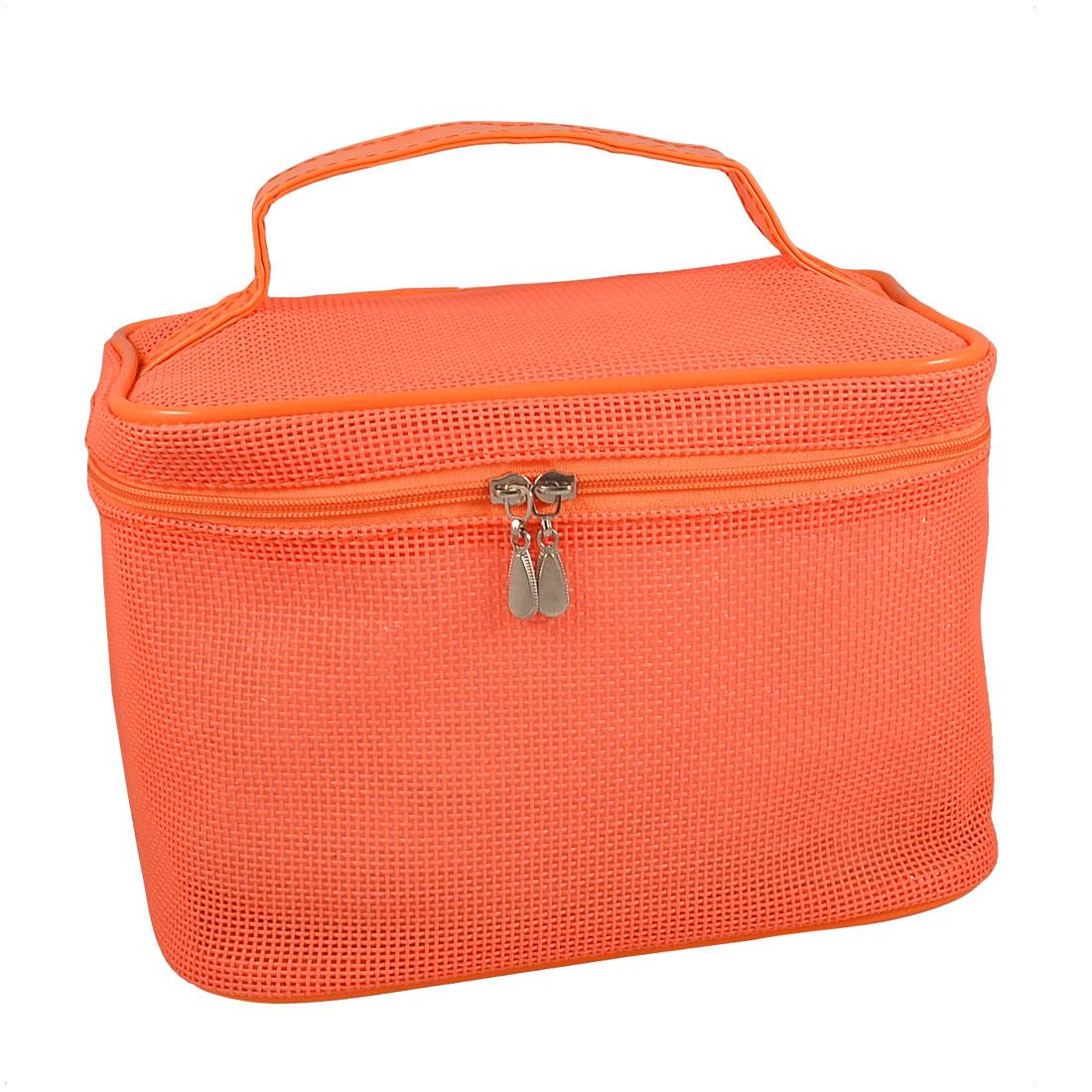 Handheld Mesh Two Way Zipper Mirror Makeup Cosmetic Bag Organizer Orange