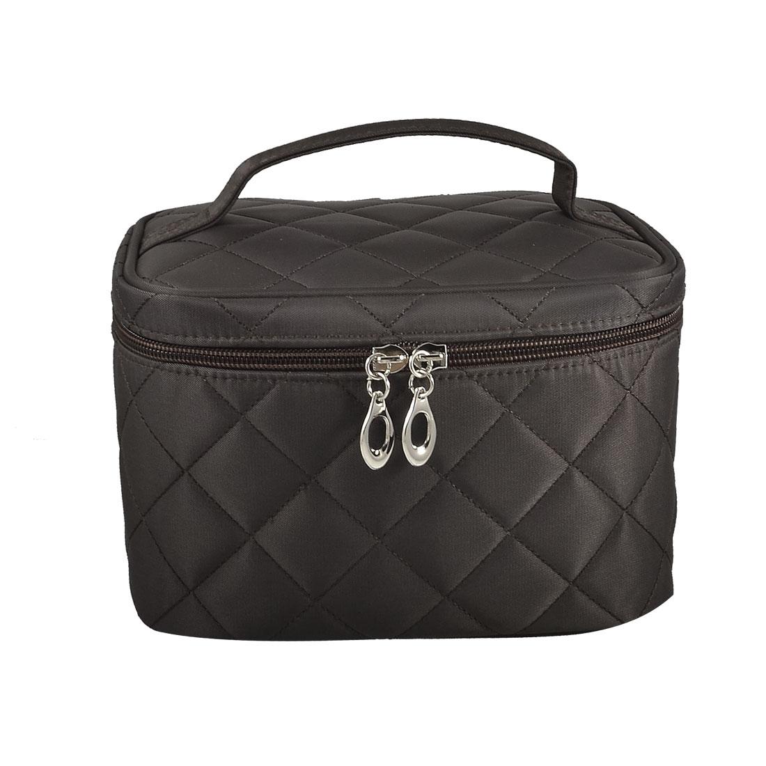 Dark Brown Plaid Zipper Toiletry Case Makeup Cosmetic Bag Organizer w Mirror