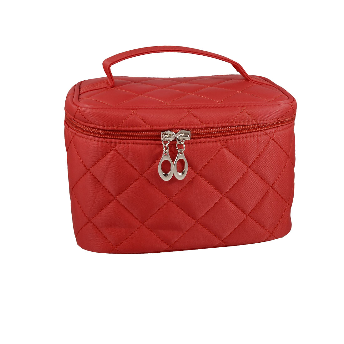 Travel Embossed Check Pattern Zip up Case Mirror Make up Cosmetic Bag Red